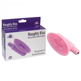 Розовая вакумная помпа для клитора Naughty Kiss